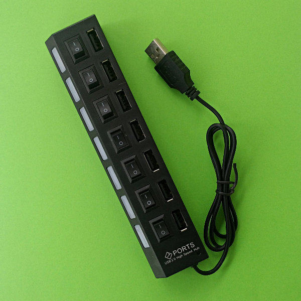 USB 2.0 Hub 7-Port w/ switchable Ports - black
