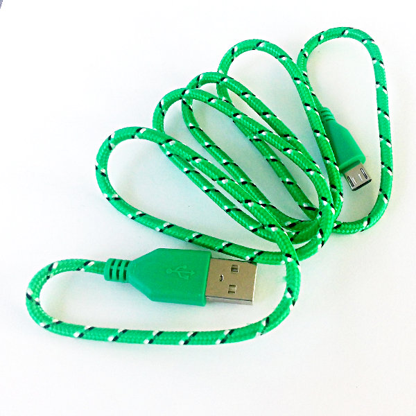 USB Micro-B Patterned Fabric Cable 90cm - green