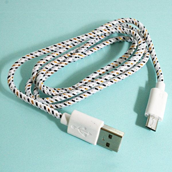 USB Micro-B Strukturgewebe-Kabel 90cm - weiss
