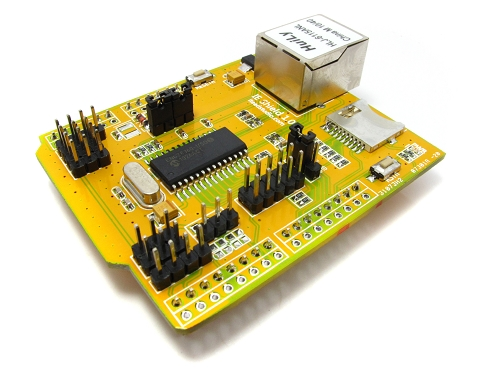 IE shield v1.1 : ENC28J60 Ethernet shield with POE & SD slot