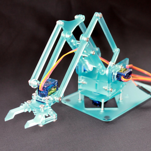 MeArm v0.4 complete Kit - blue/clear Acrylic Glass