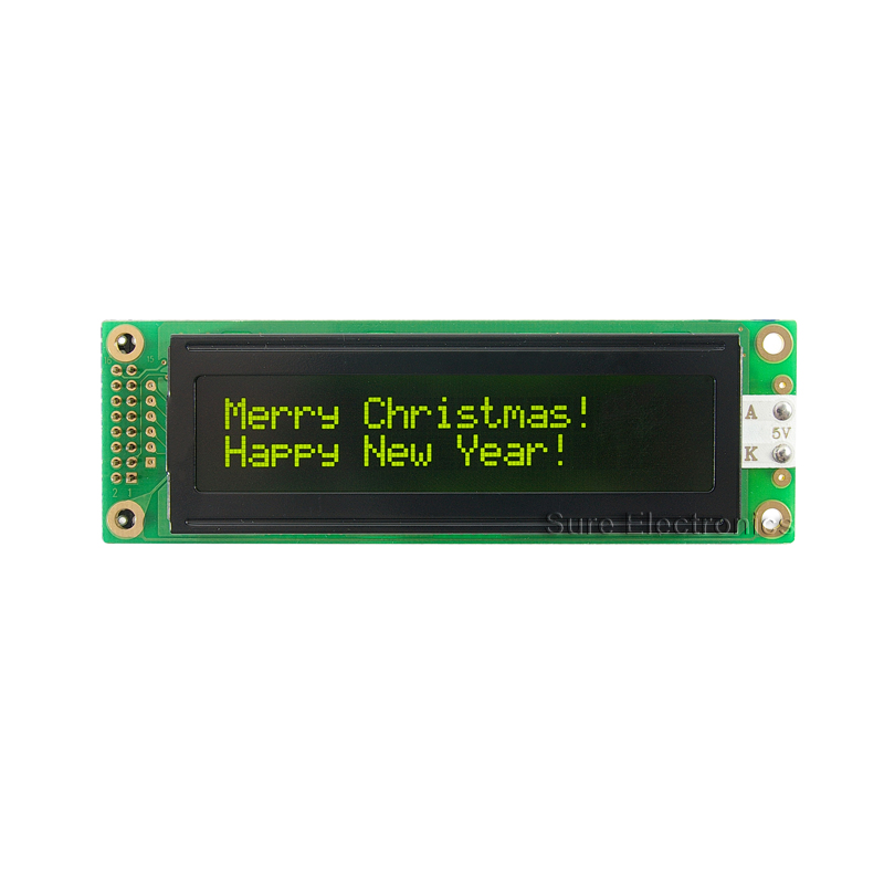 2002 Characters LCD Module Yellow Backlight & Green Character