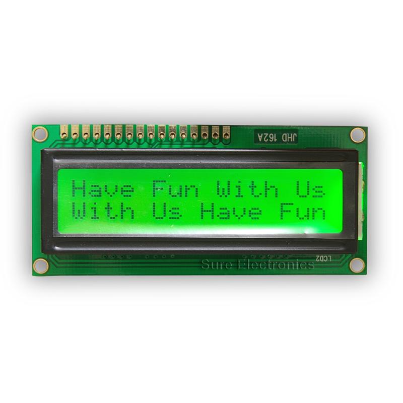 1602 LCD Modul schwarze Zeichen, grüner Hintergrund HD44780