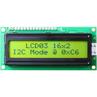 1602 LCD black characters, green backlight I2C/serial