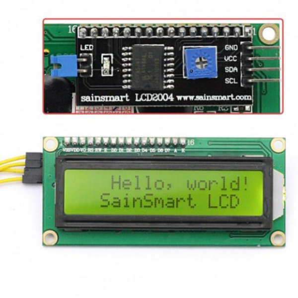 1602 LCD Module black characters green backlight I2C