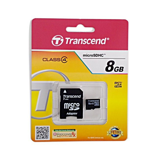 Transcend microSDHC Card 8GB w/ SD Adapter
