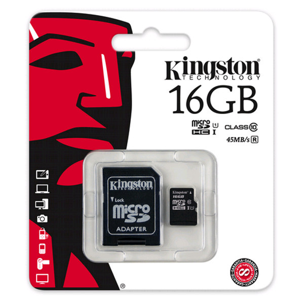 Kingston microSD Card 16GB w/ SD Adapter - Class10