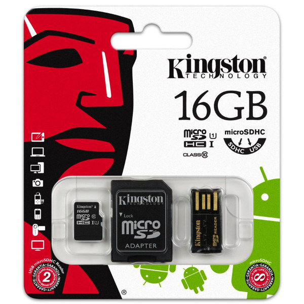 Kingston microSD Karte 16GB mit SD und USB Adapter - Klasse10