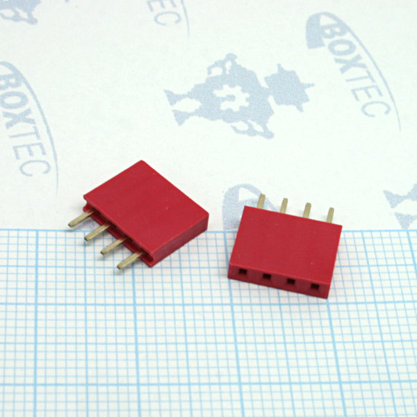 Headers female 1x4Pin - red