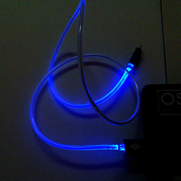 USB Micro-B Kabel 90cm - Blau beleuchtet)
