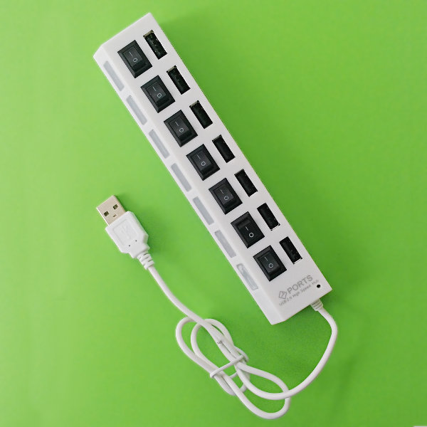 USB 2.0 Hub 7-Port w/ switchable Ports - white