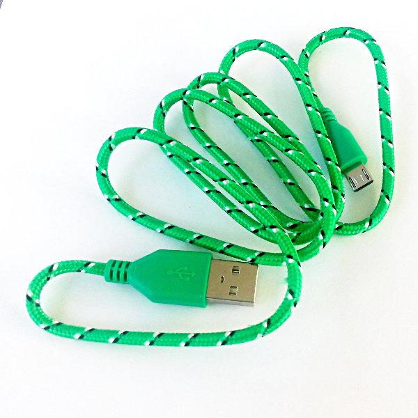 USB Micro-B Strukturgewebe-Kabel 90cm - grün
