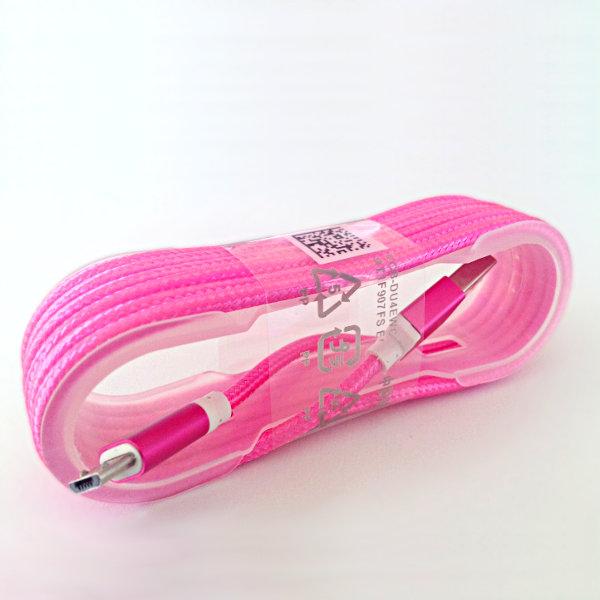 USB Micro-B Strukturgewebe-Kabel 150cm - rosa