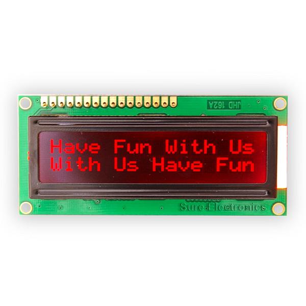 1602 LCD Modul rote Zeichen, Hintergrund schwarz HD44780