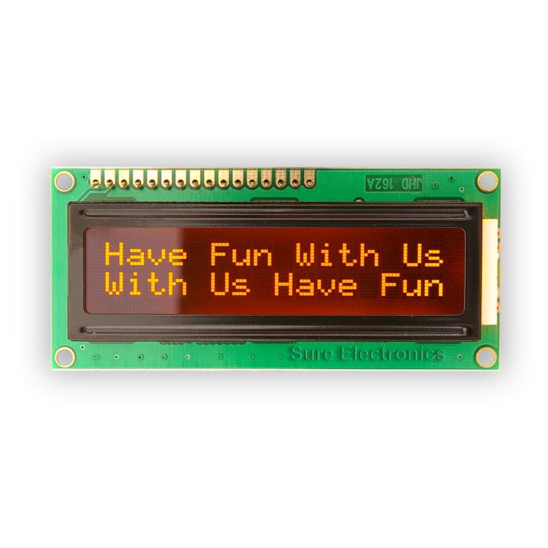1602 LCD Modul orange Zeichen, Hintergrund schwarz HD44780