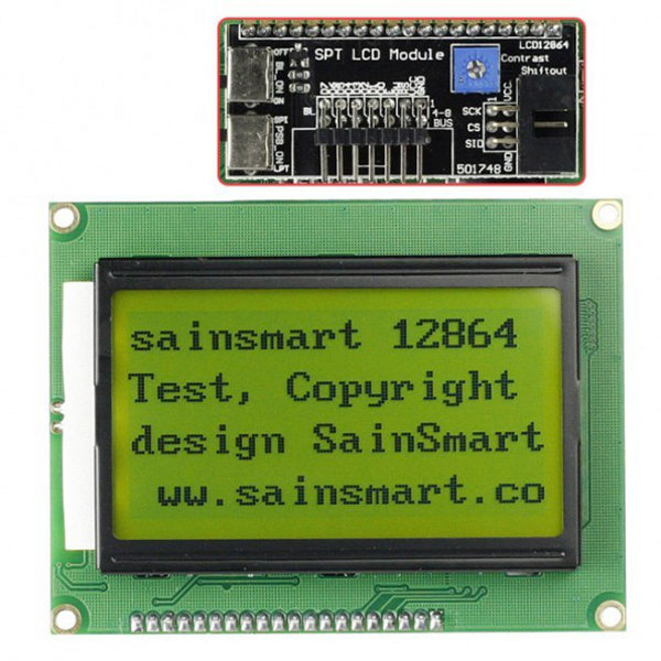 128x64 LCD Module black characters, yellow backlight - SPI