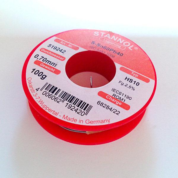 Stannol Solder HS10 Sn60/Pb40 0.7mm (100g)