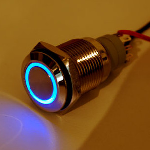 Waterproof Metal Pushbutton w/ Blue LED Ring (16mm)