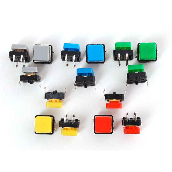 Colorful Square Tactile Button Switch Assortment - 15pcs