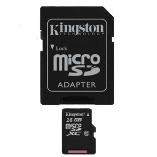 Kingston microSD Card 16GB w/ SD Adapter