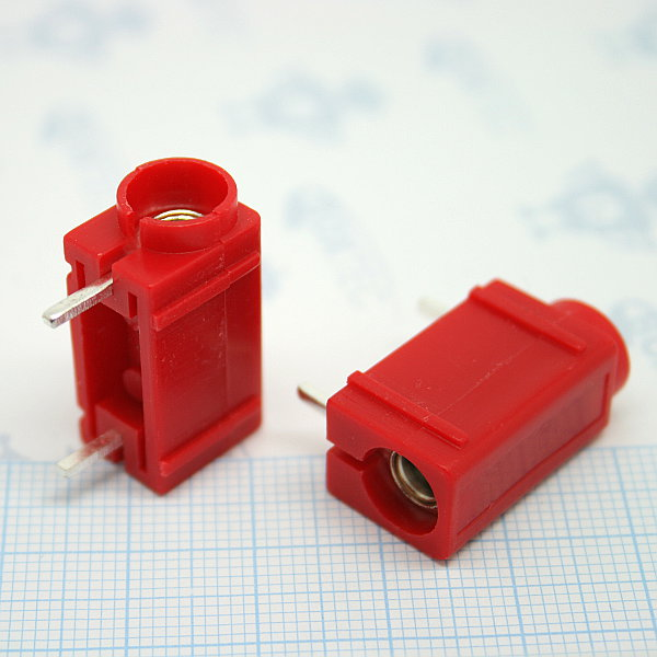 Banana connector PCB mount - red