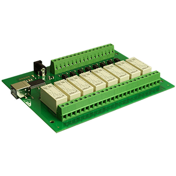 USB-OPTO-RLY816 - 8 optically isolated inputs, 8x16A relays