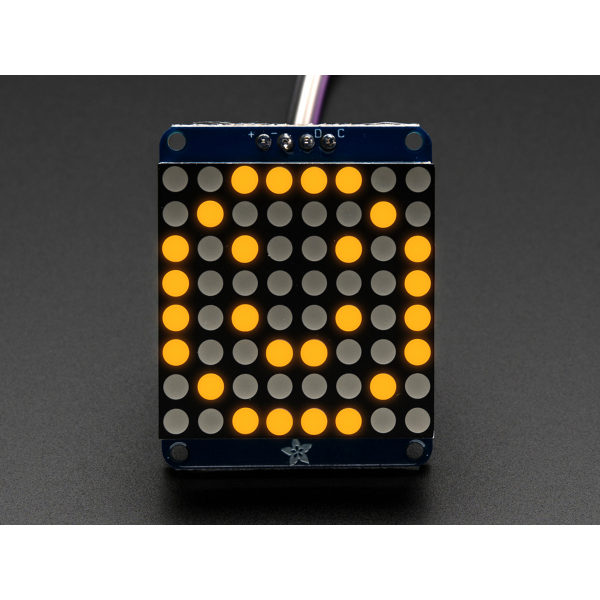 Mini 8x8 LED Matrix mit I2C Backpack - Gelb